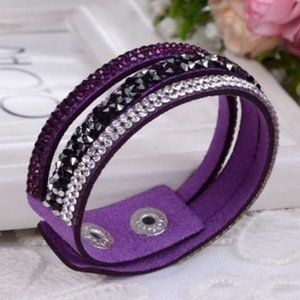 Smashing Purple Wrap Button Rhinestone Bracelet